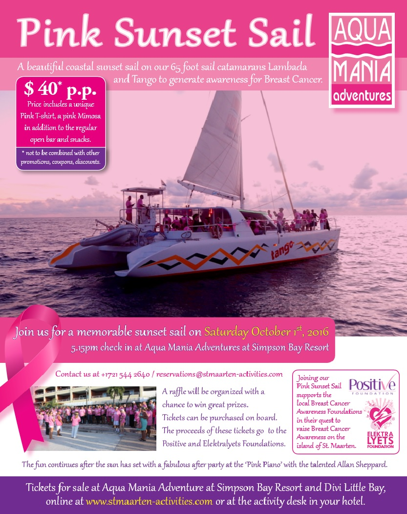 This fabulous sunset sail is an effort of Aqua Mania Adventures to raise awareness for Breast Cancer as part of the Breast Cancer Awareness Month